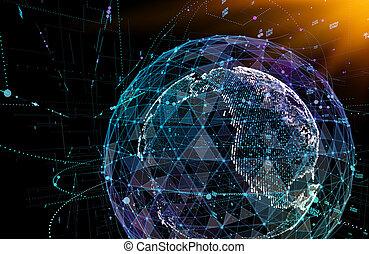 Conexiones de comunicación global en la visión del mapa del mundo sobre el fondo del espacio oscuro. Ilustración 3D