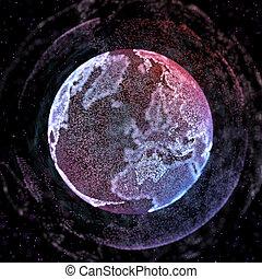 Conexiones de comunicación global en la visión del mapa del mundo sobre el fondo del espacio oscuro. Ilustración 3D.
