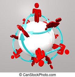 Conexiones de personas, redes sociales