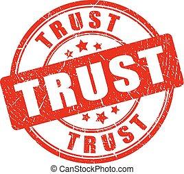 Confía en el sello de goma