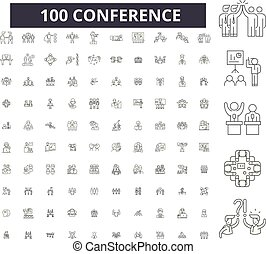 Conferencia de iconos de línea editable, 100 vectores, colección. Conferencia de ilustraciones negras, señales, símbolos