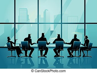 conferencia, empresarios, habitación, ejecutivo, teniendo, reunión