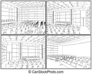 conferencia, interior, vestíbulo
