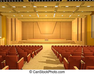 conferencia, o, habitación, vacío, vestíbulo