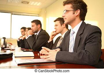 conferencia, personas, cinco, empresa / negocio