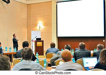 conferencia, presentación, aditorium