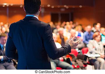 conferencia, presentation., orador, empresa / negocio