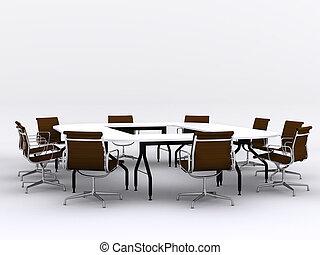 conferencia, sillas, habitación de reunión, tabla