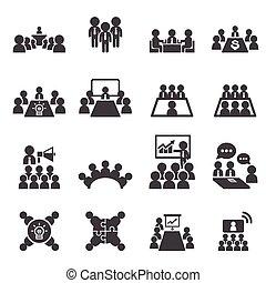 Conferencia y icono de negocios