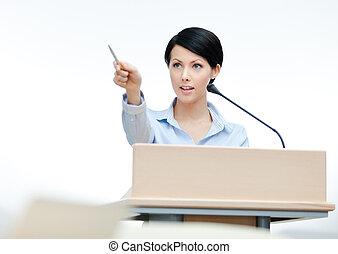 conferenciante, conferencia, hembra, empresa / negocio, podium.