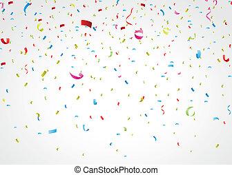 Confeti colorido en blanco