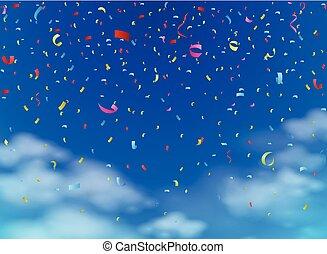Confeti colorido en el cielo