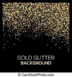Confeti dorado brilla en el fondo negro. Trasfondo de brillo dorado abstracto. Explosión dorada de confeti. Trasfondo abstracto dorado.