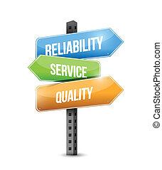 confiabilidad, calidad, ilustración, servicio, señal