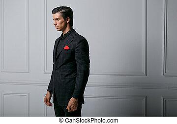 confiado, bolsillo, retrato, bufanda, fondo., hombre, encima, elegante, seda, traje, joven, rojo blanco, perfil, negro