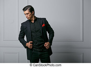 confiado, bolsillo, retrato, bufanda, fondo., hombre, encima, seda, traje, joven, rojo blanco, perfil, negro