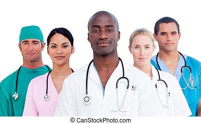 confiado, equipo médico, retrato