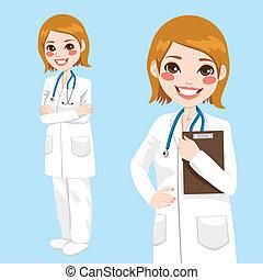 confiado, médico de mujer