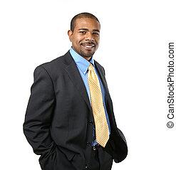 confiado, norteamericano, africano, hombre de negocios