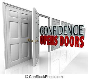 confianza, abre, palabras, puerta, puertas