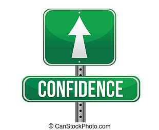 confianza, diseño, camino, ilustración, señal