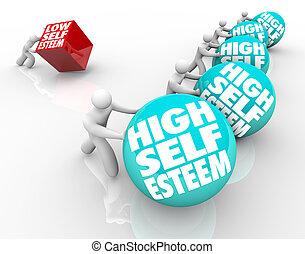 confianza, sí mismo, contra, alto, actitud, carrera, bajo, perder, estima