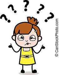 Confuso: chica linda dibujo animado ilustración vectorial del personaje