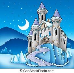 congelado, castillo, paisaje de invierno