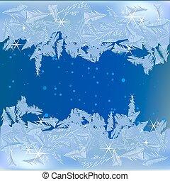 congelado, ventana, helada