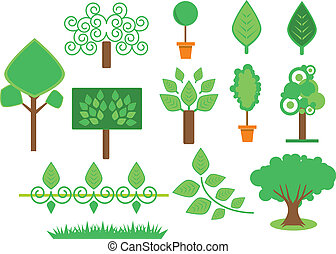 conjunto, árboles, vegetación