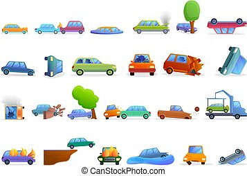 conjunto, accidente, estilo, coche, caricatura, iconos