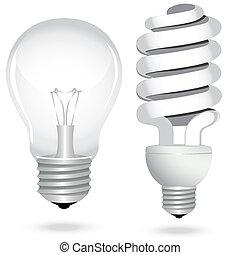 conjunto, ahorro, electricidad, luz, energía, lámpara, bombilla