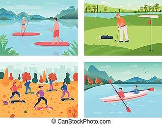 conjunto, al aire libre, vector, color, plano, ilustración, deporte
