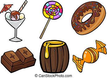 conjunto, alimento, dulce, ilustración, objetos, caricatura