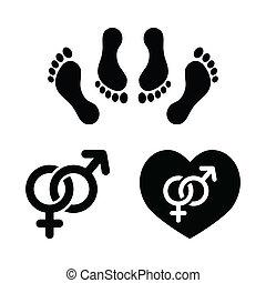 conjunto, amor, iconos, pareja, sexo, elaboración