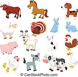 conjunto, animal, colección, granja