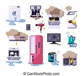 conjunto, aparatos, hogar, plano, vector, ilustraciones, roto