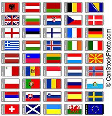 conjunto, banderas, europeo
