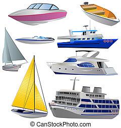 conjunto, barco, icono