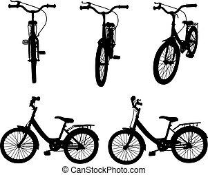 conjunto, bicycles, diferente