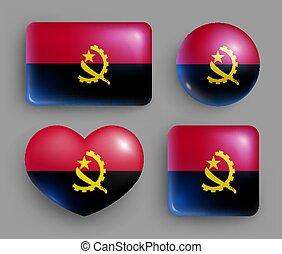 conjunto, botones, angola, país, bandera, brillante