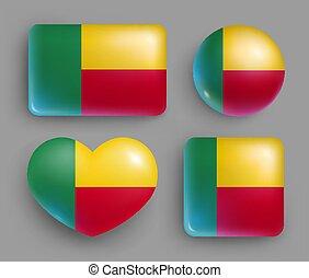 conjunto, botones, benin, brillante, bandera, país