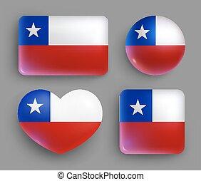 conjunto, botones, chile, brillante, bandera, país
