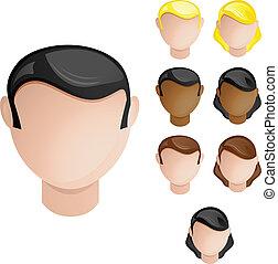 conjunto, cabezas, gente, pelo, colores, 4, piel, female., macho
