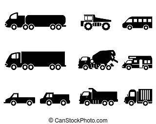 conjunto, camión, iconos