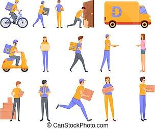 conjunto, caricatura, entrega, iconos, estilo, hogar