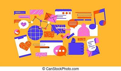 conjunto, caricatura, social, moderno, red, medios, icono