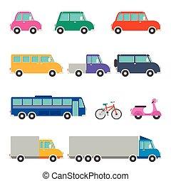 conjunto, caricatura, vario, vehículos