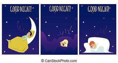conjunto, carteles, stars., hermoso, cómodo, sueño, vector, niños