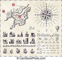 conjunto, cartografía, medieval